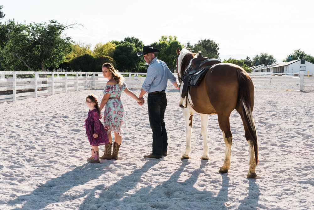 family country session with horses