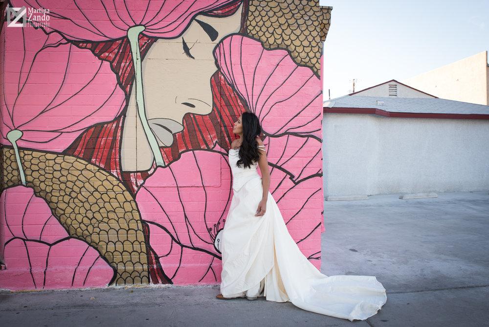 downtown las vegas murales bridal portrait