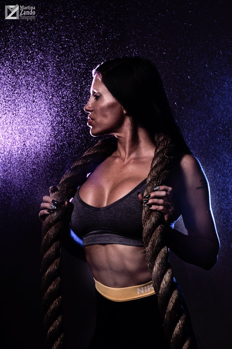 fitness portrait with mist and rope
