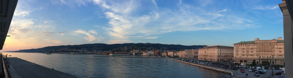 Views of the waterfront of the Italian city of Trieste.