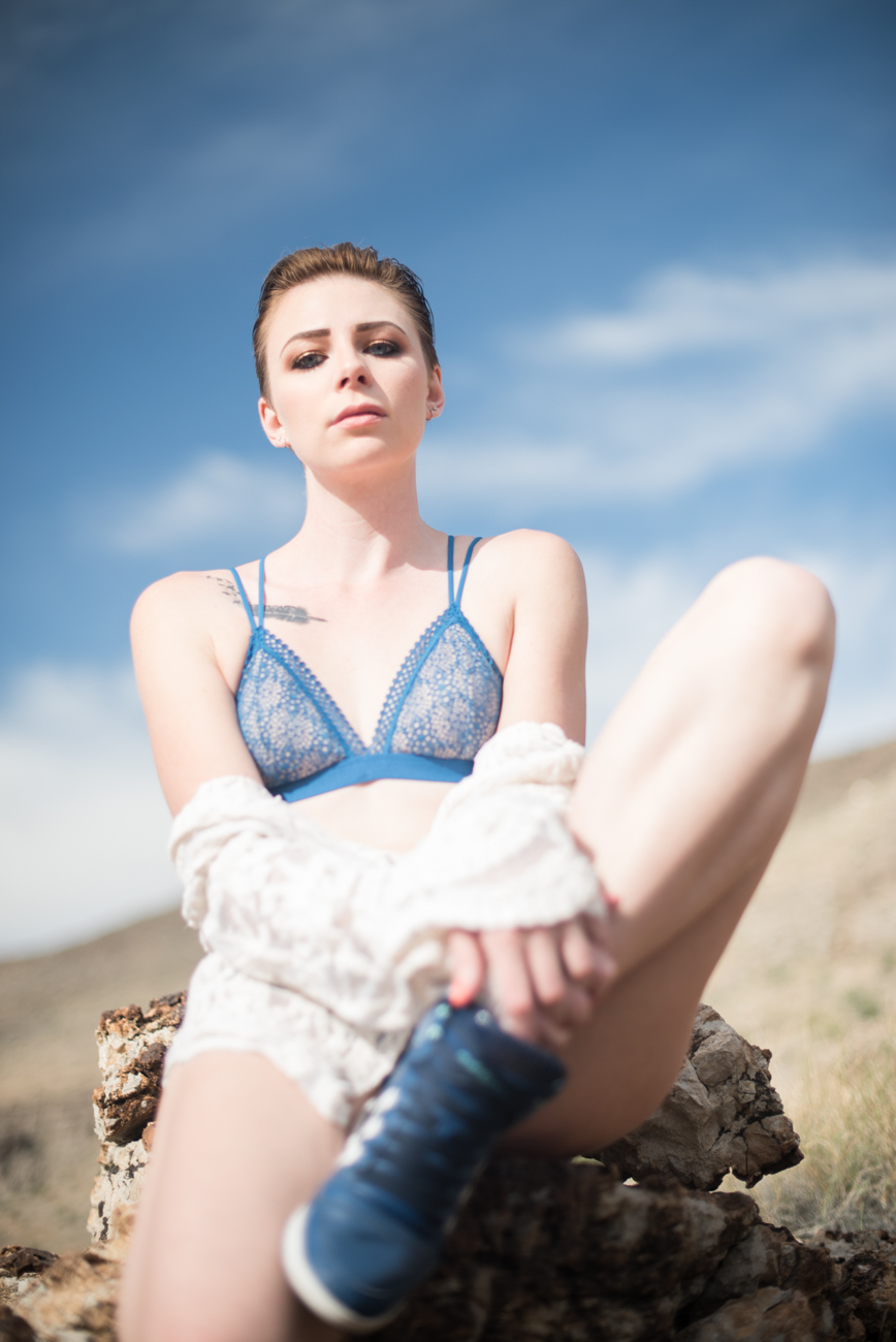 fashion inspired boudoir outfit ideas blue bra and blue trainers