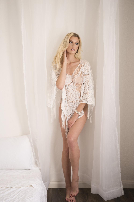 bohemian white top boudoir standing pose