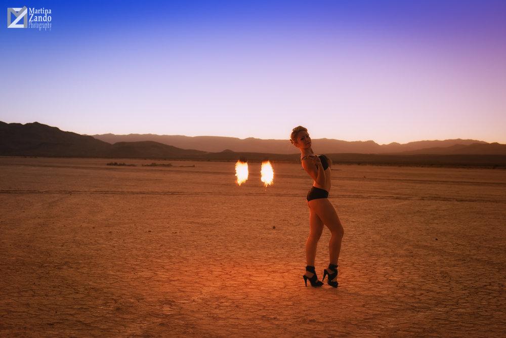 fire performer in the desert