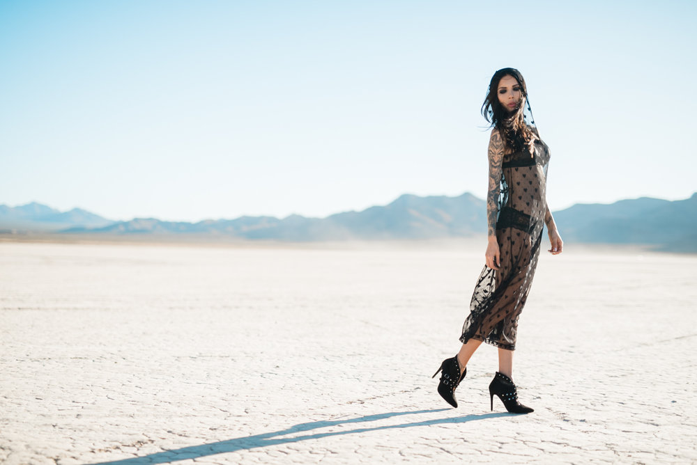 desert style Naty Ashba long sexy mesh dress