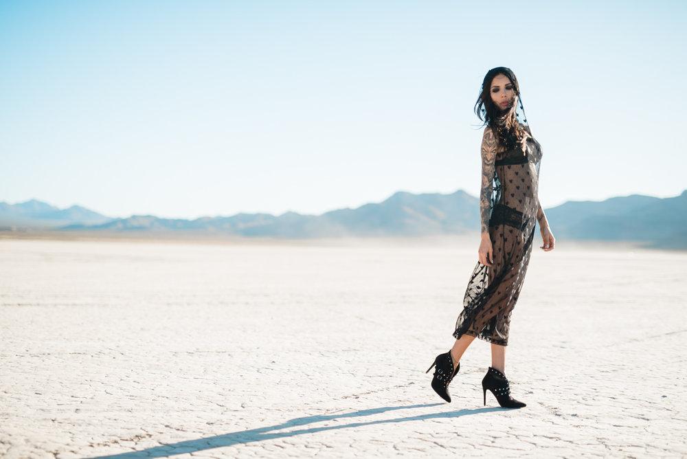 desert style Naty Ashba long sexy mesh dress