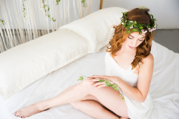 Red hair and green Ivy. Las Vegas bohemian boudoir