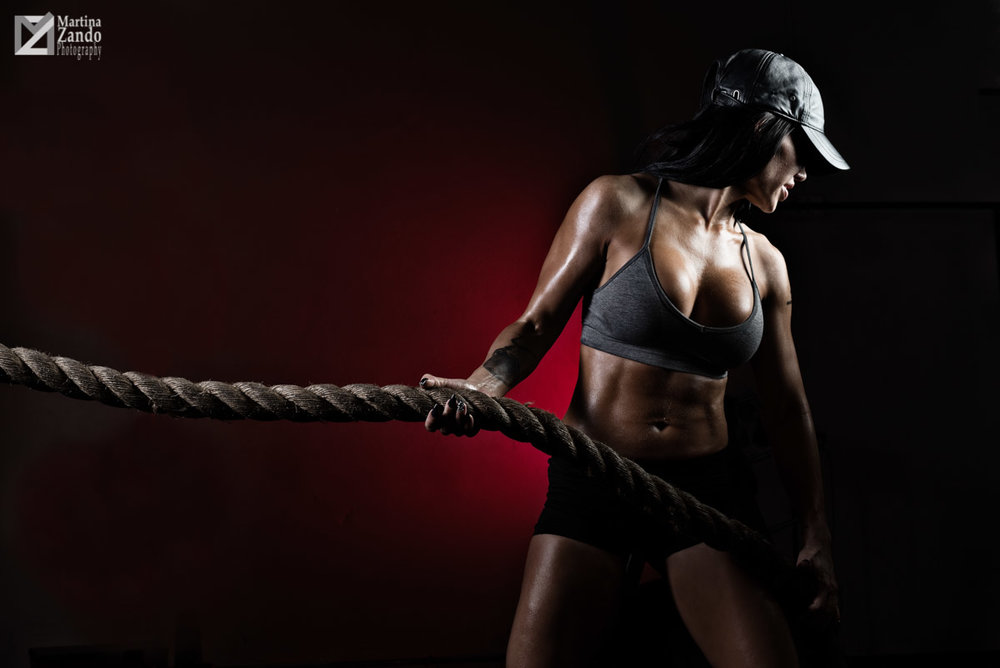 fitness model with rope