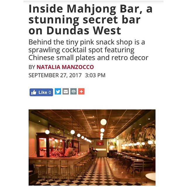 Sweet write up of our latest project @mahjongbar on Dundas west.  Great execution by the squad.  Link in bio  #toronto #design #interiors #greynorth