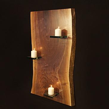 Wood Slab Candle Large