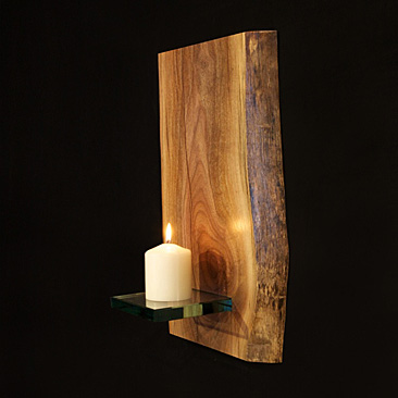 Wood Slab Candle Small