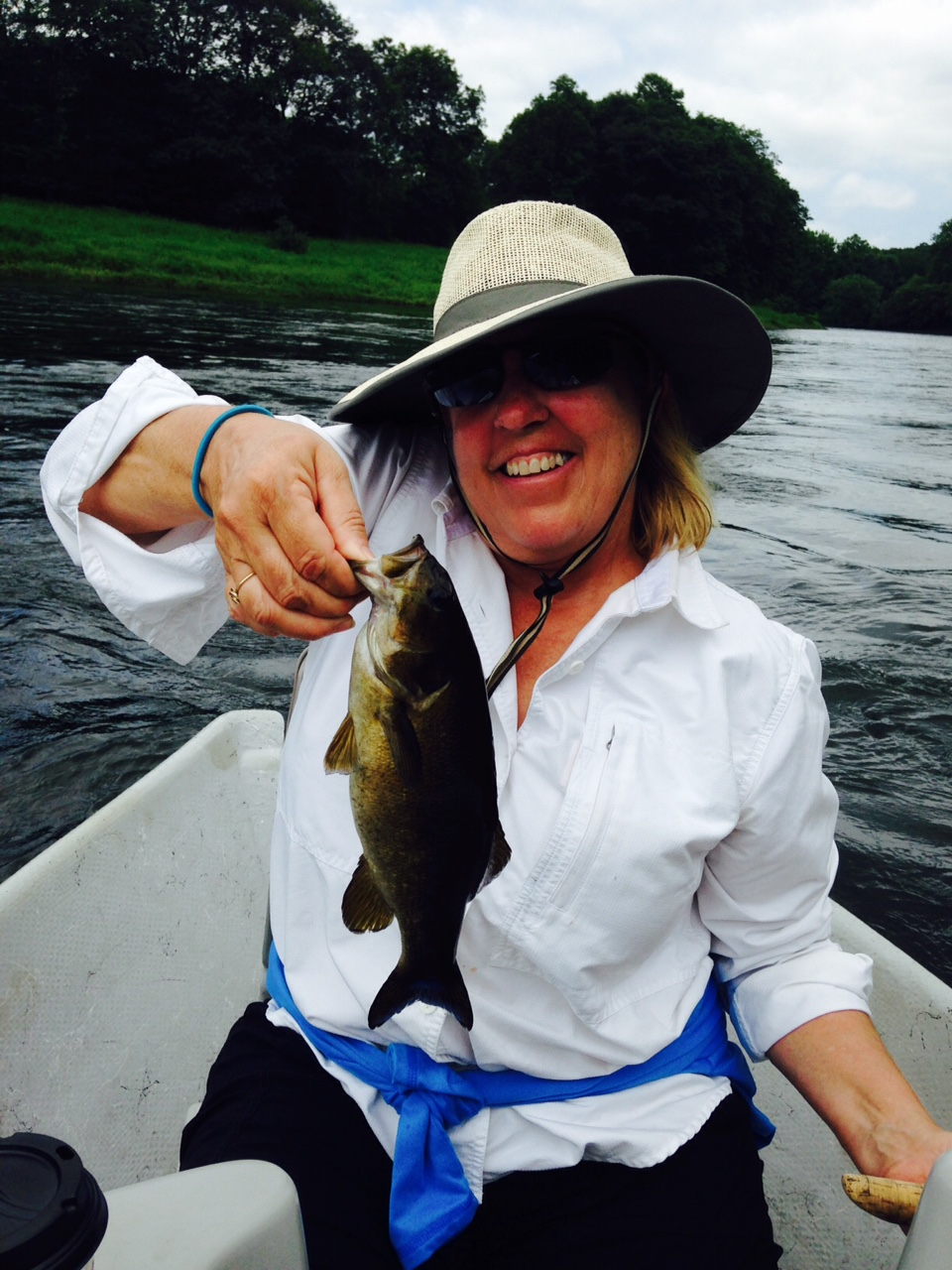 7/18/2015  Allison catches a nice Delaware River smallmouth bass!