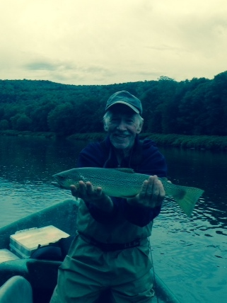"9/21/15 Pete L. with a 20"" Brown trout"