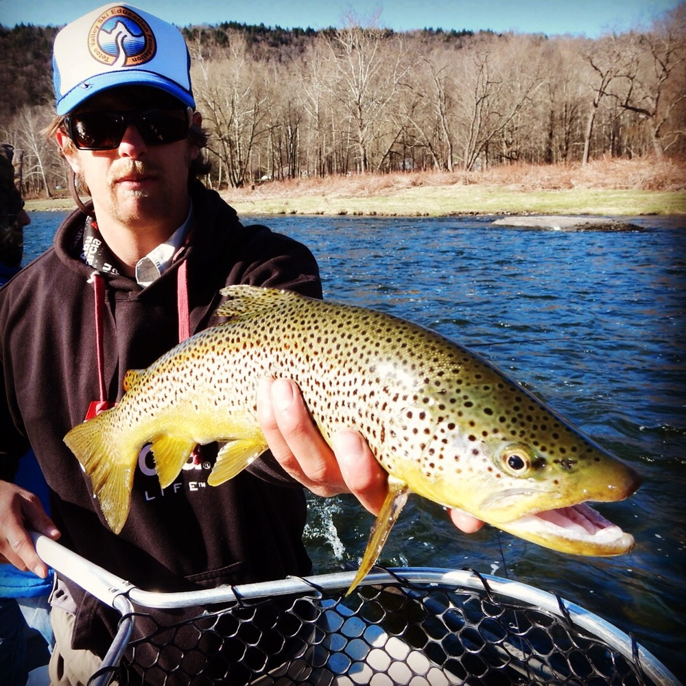 A nice brown trout displayed by guide Evan P.