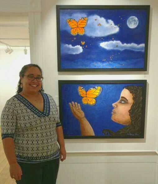 Leah Perlongo in front of her two works for the Daily Artists 2015 Show