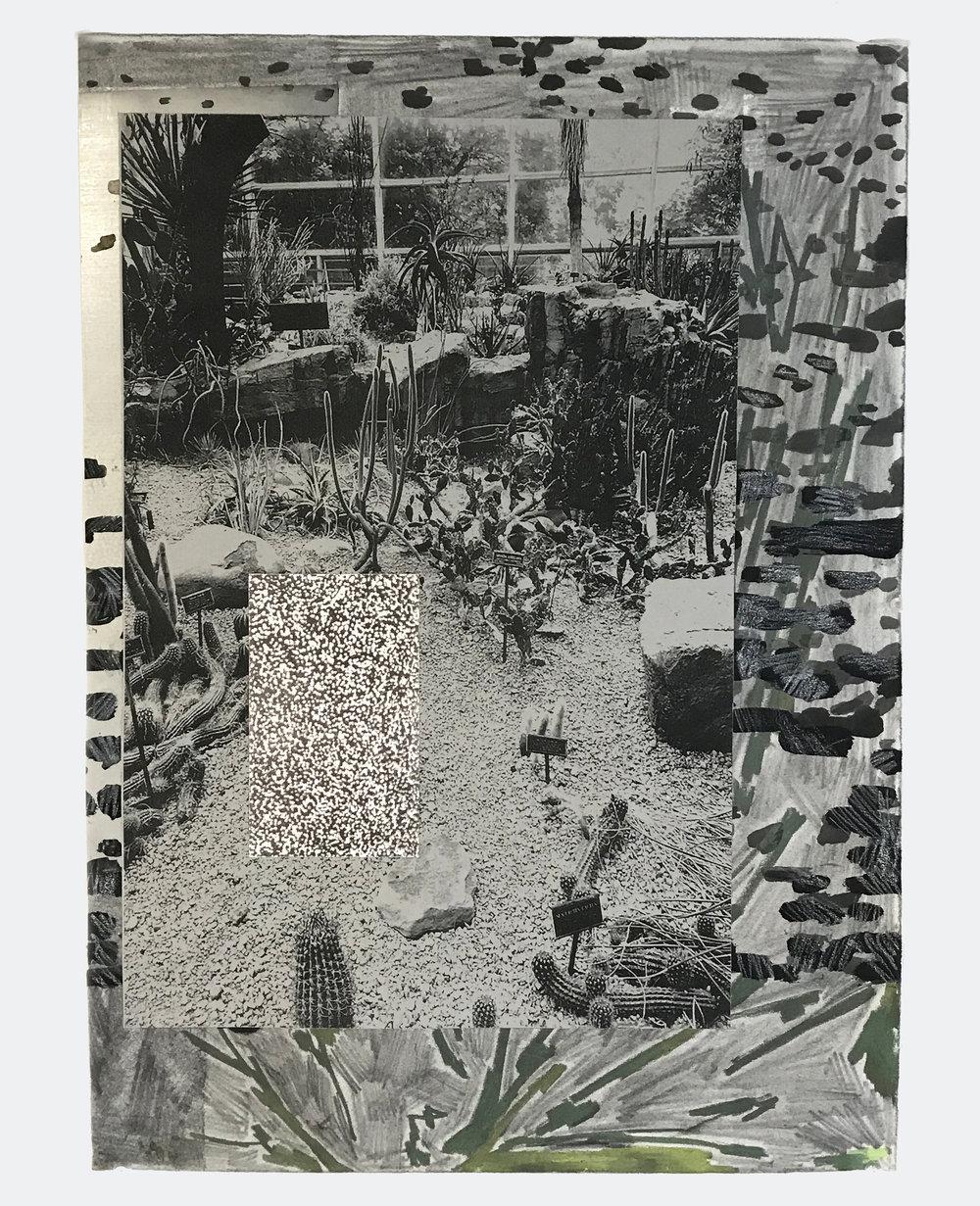 "Desert/desire, 2017  Xerox, sanded vinyl, collaged etching print, ink, graphite, acrylic. 16x20"""