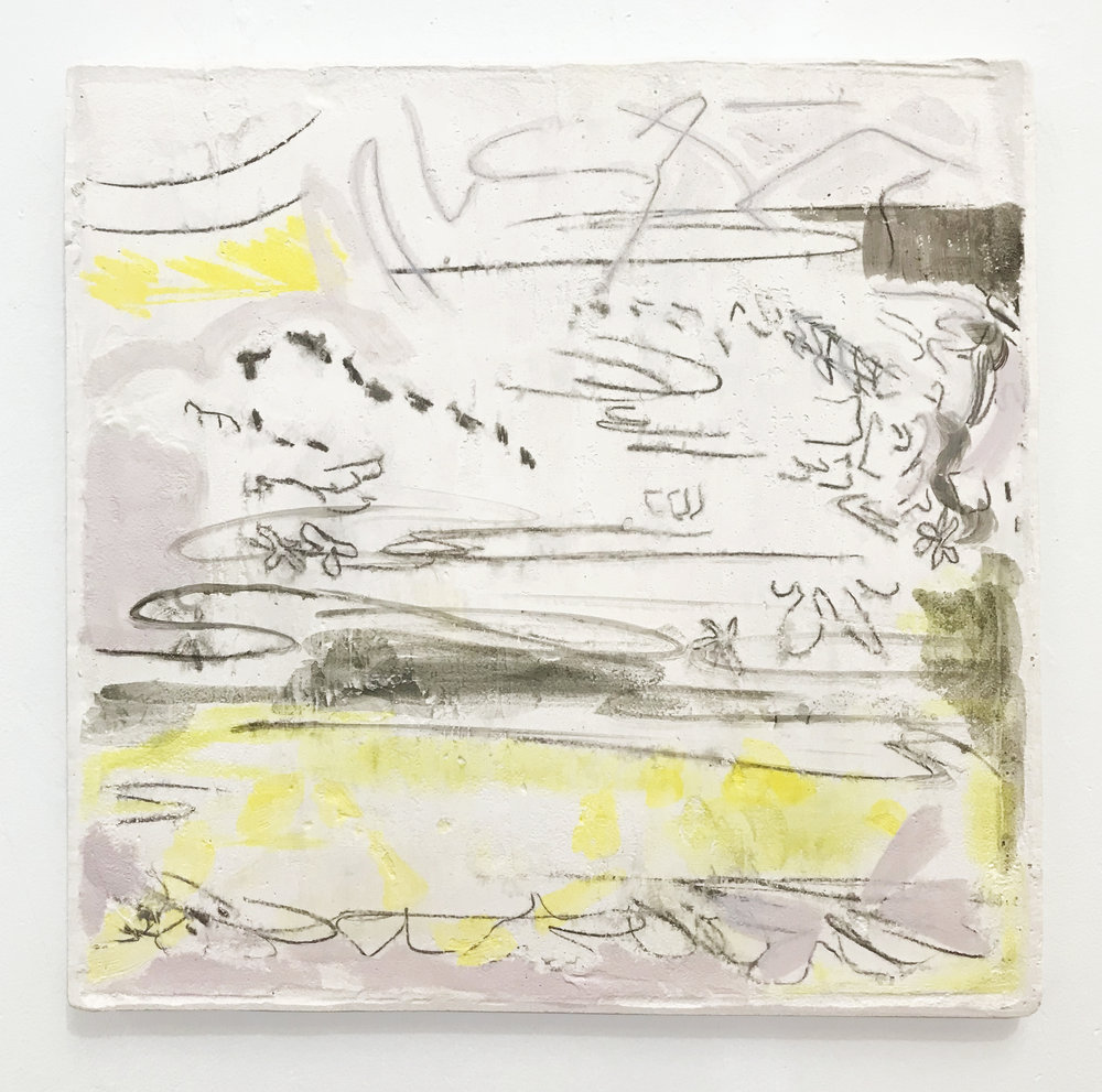 Untitled (Soft landscape), 2019  Monoprint on hydrocal, oil paint, pigment. 12x12""