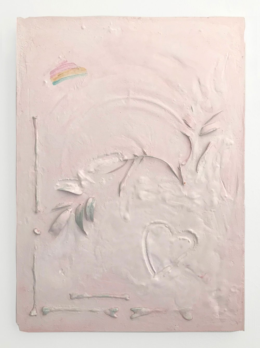 """Sand, 2018  Hydrocal, clay, fake plant, pigment. 16x22"""""""