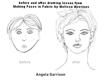 Making Faces in Fabric by Melissa Averinos, drawing lesson before and after
