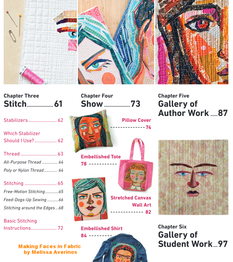 Making Faces in Fabric by Melissa Averinos, table of contents