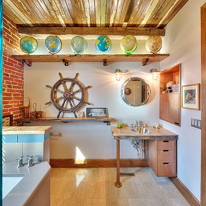 We were tasked by our client, to design and build a Themed Master Bathroom based on the look of a 15th century sailing ship.