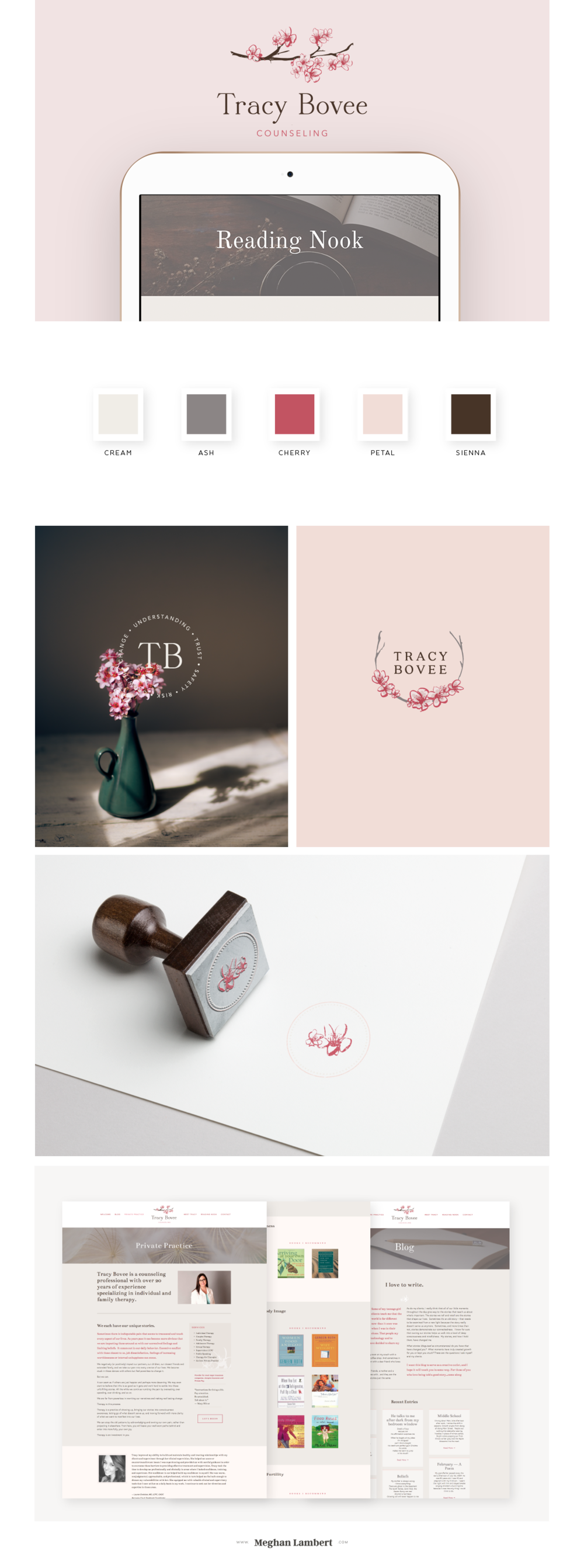 Tracy Bovee Brand Identity and Web Design by Meghan Lambert