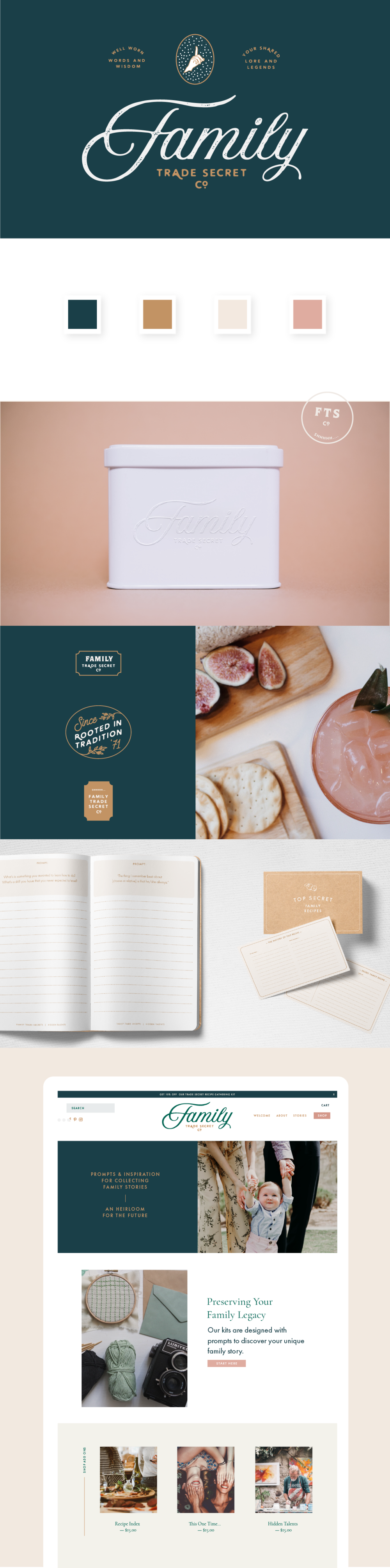 Family Trade Secret Branding, Website, and Print Design by Meghan Lambert