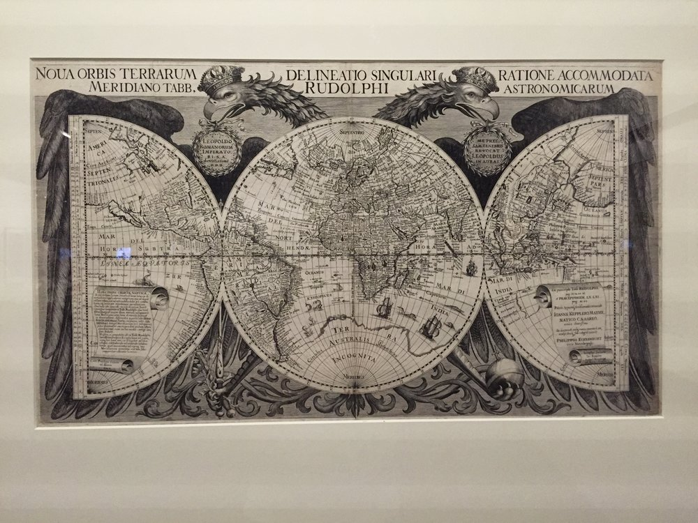 The Eckebrecht map of 1630/1659, featuring Australia in the right-hand panel. Note the 'island' of California in the left-hand panel, and the sophisticated use of longitude and latitude.