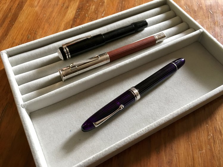 Omas Ogiva Alba, Graf von Faber-Castell Classic, and MB 1912.