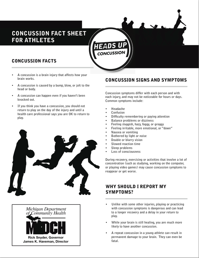 Concussion Fact Sheet For Athletes -