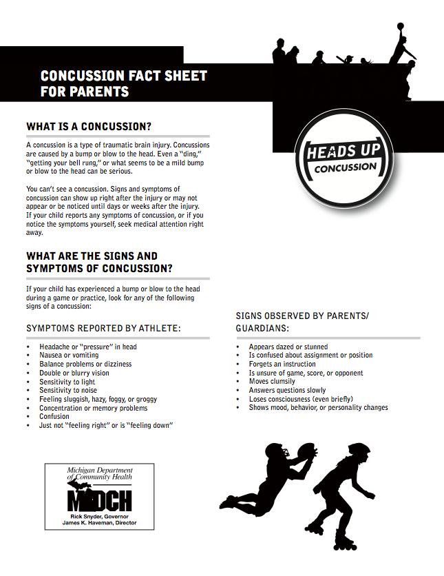 Concussion Fact Sheet For Parents -