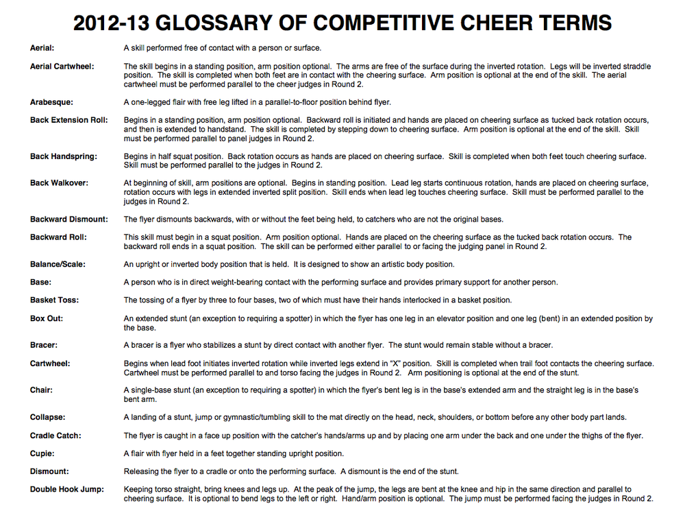 Glossary Of Cheer Terms -