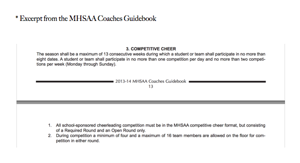 What Is Competitive Cheer? - From the MHSAA Coaches Guide, a description of the Competitive Season.
