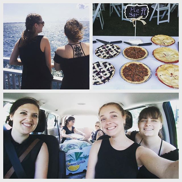 Team DLG going the extra mile to feed the guests at a lovely Wolfe Island wedding! Also, pie.  #squishinthevan #ferryrides #fullferry #dreamteam #all4one #localfood #desertlakegardens #localcatering #beststaffever #pie