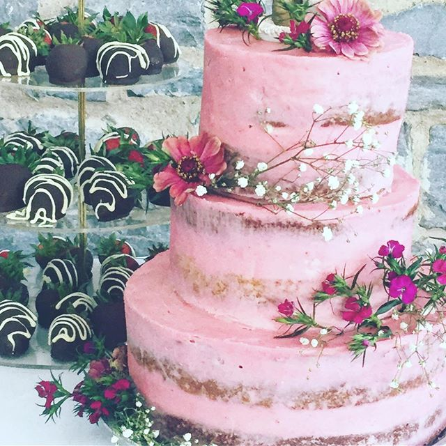 Pretty in pink.  #desertlakegardens  #localcatering #kingstoncatering #wedding #weddingcatering #freshraspberrybuttercream #sweettreats #welikemakingcakes #weddingcake #localfood #supportlocal