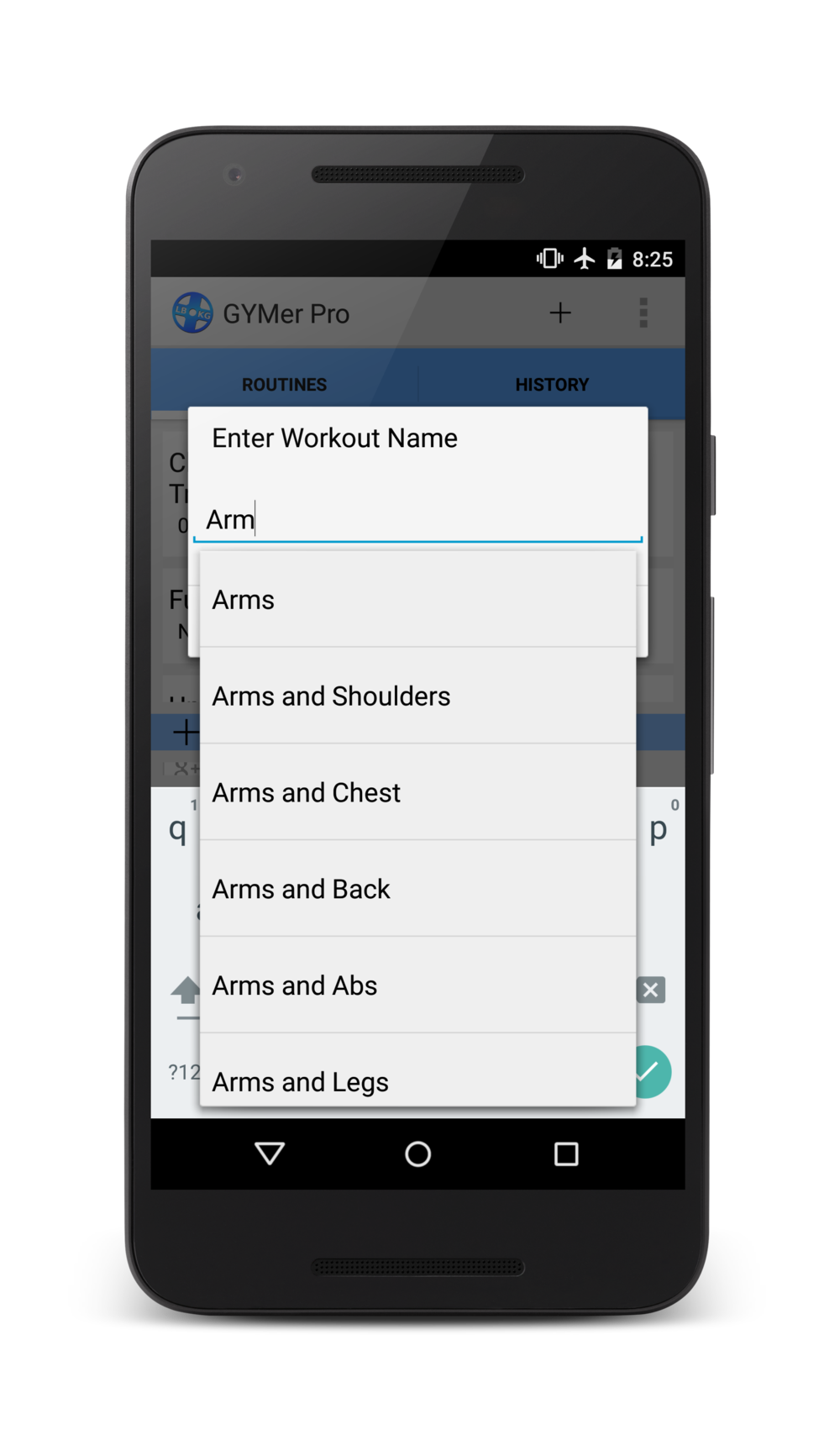 The workout app with weight lifting specific predictive text.