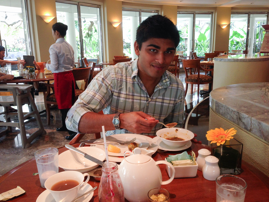 Rumaan enjoys his brunch.