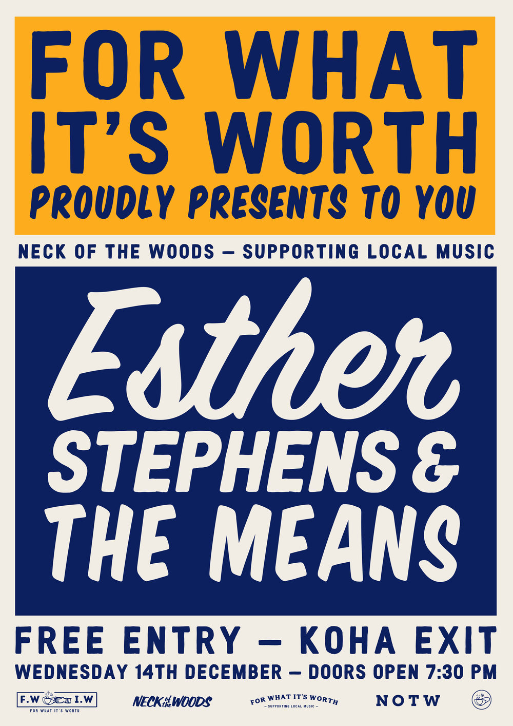 Our previous FWIW event: Esther Stephen & The Means