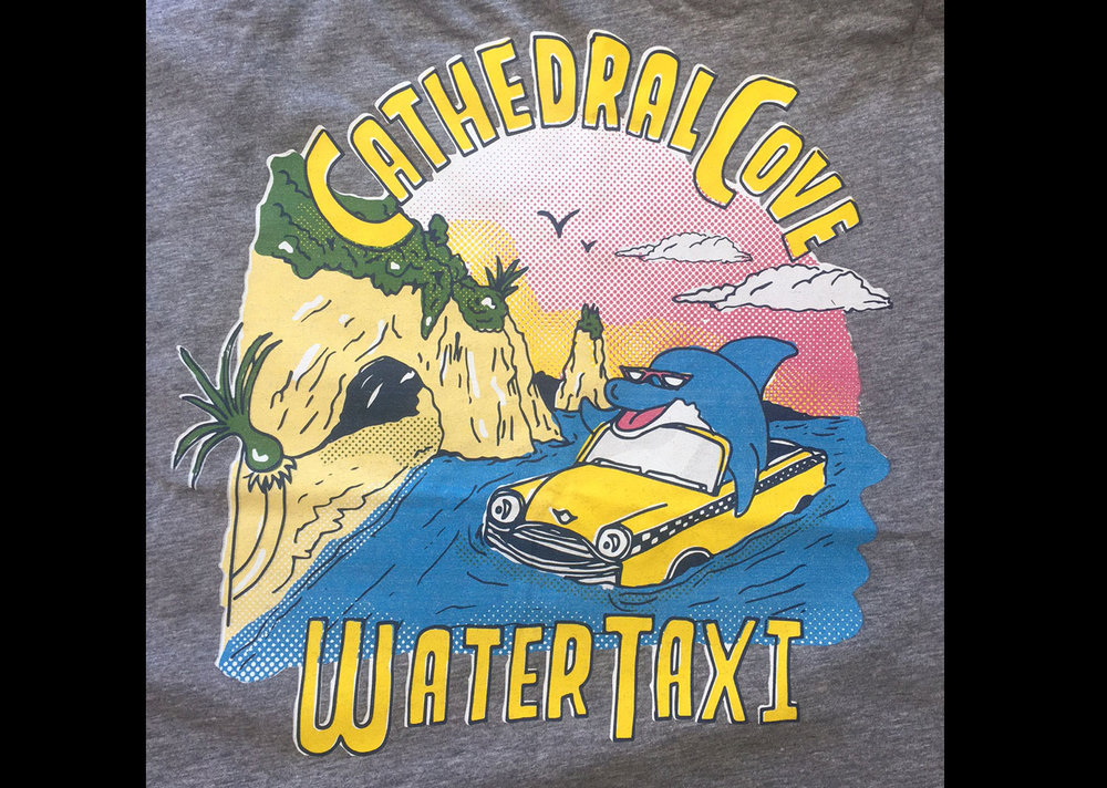 Above: Logan's Cathedral Cove Water Taxi t-shirt design