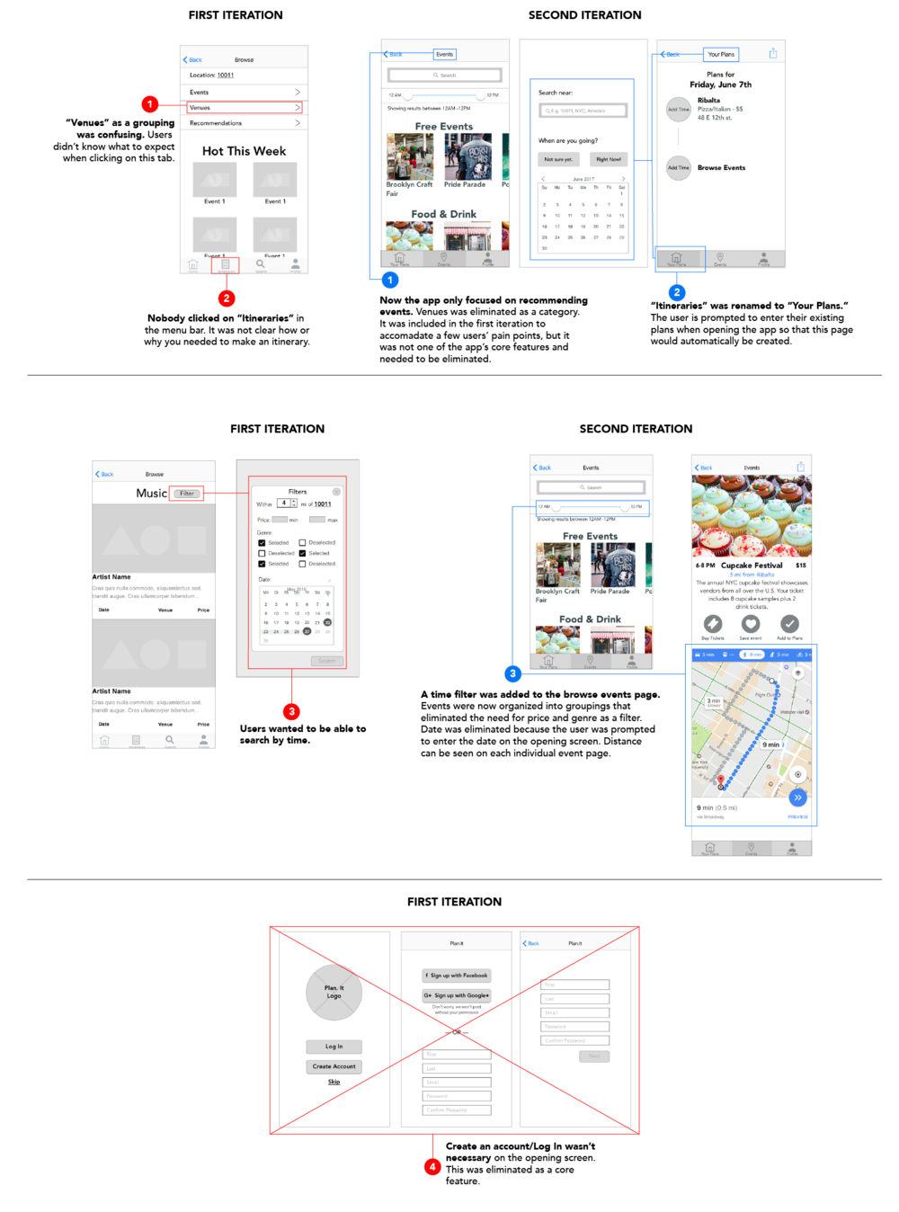 Image: A side by side comparison of the first and second iteration of wireframes to show improvements.