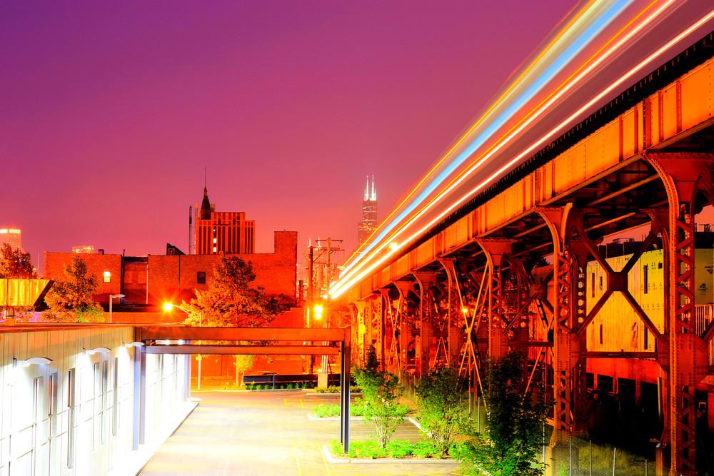 Chicago sunset train light blur streak colorful.jpg