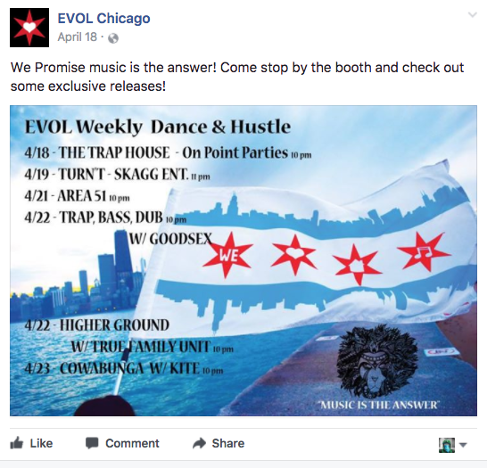 EVOL Chicago promotional Content Facebook Post