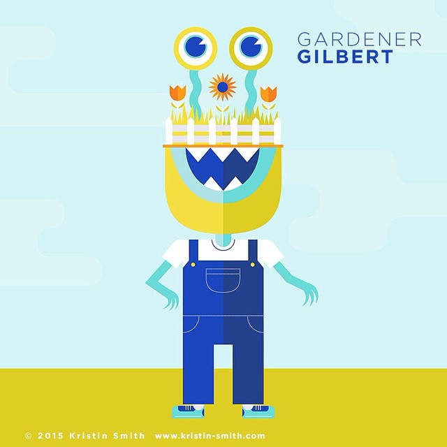 Meet Gardener Gilbert. Why bother with a rooftop urban garden when you can have one right on your head? #illustration #illo #monsters #doodles #doodle #oneaweek #kristinscreatures #characters
