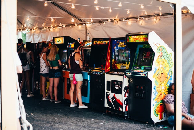 This arcade tent was one of the many ways people could cool off or just chill.