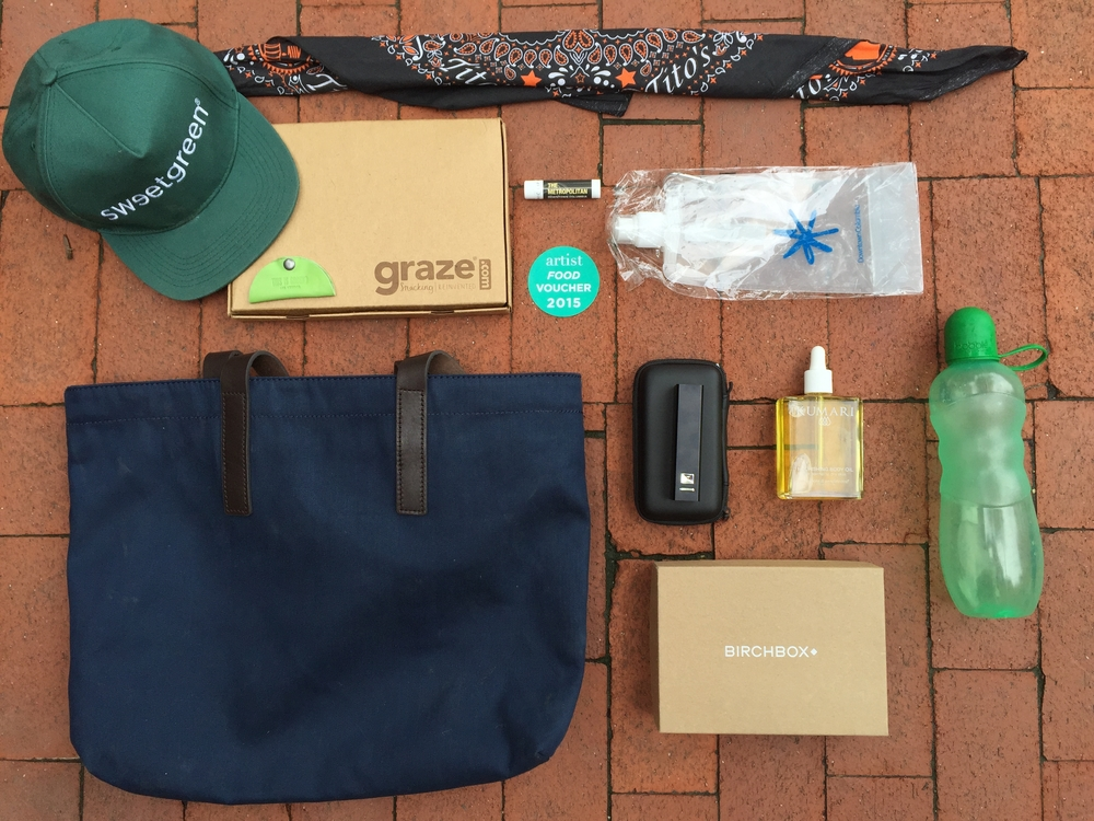 These items were given as part of gift bags for artists. Mixed with essentials for music festival livin', Sweetgreen gave talent Birchboxes, and other luxury goods.