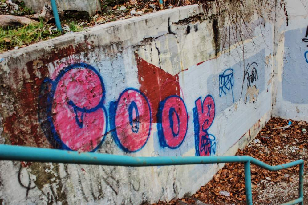 COOP's throw up along a staircase in Greenfield-Squirrel Hill