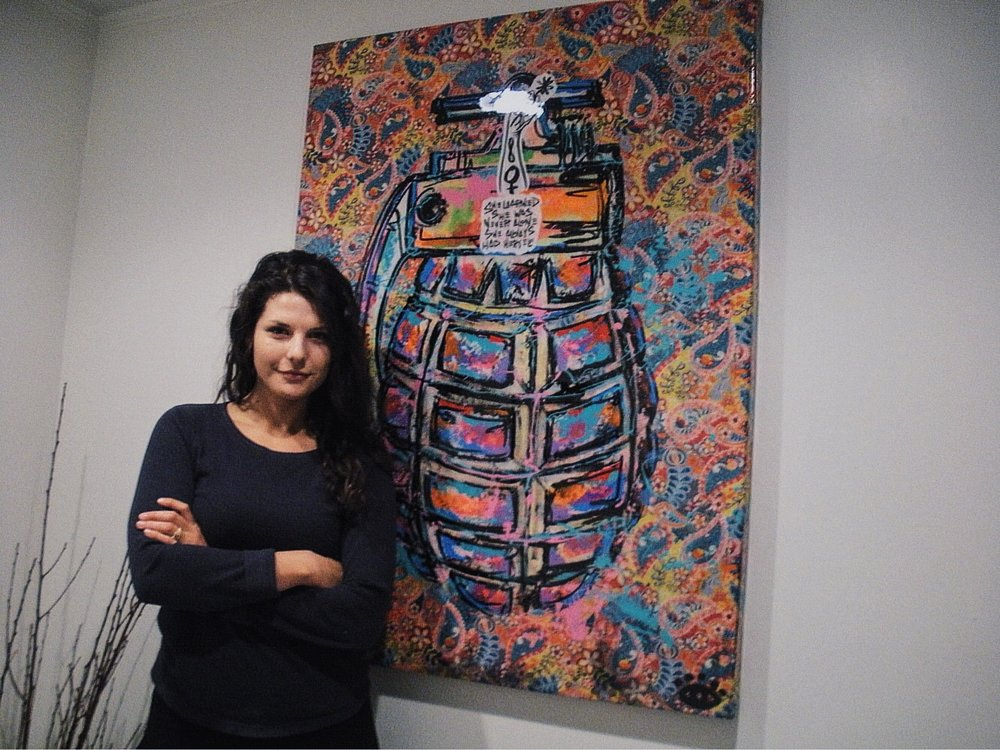 Tori Meglio next to Baron Batch grenade in Big Dog Coffee - photograph by Alex Young