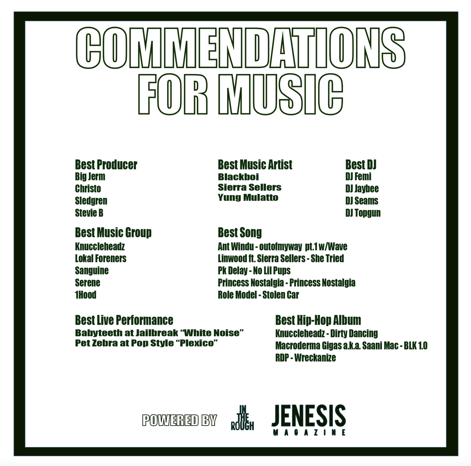 Commendations for Music — Life's Goods