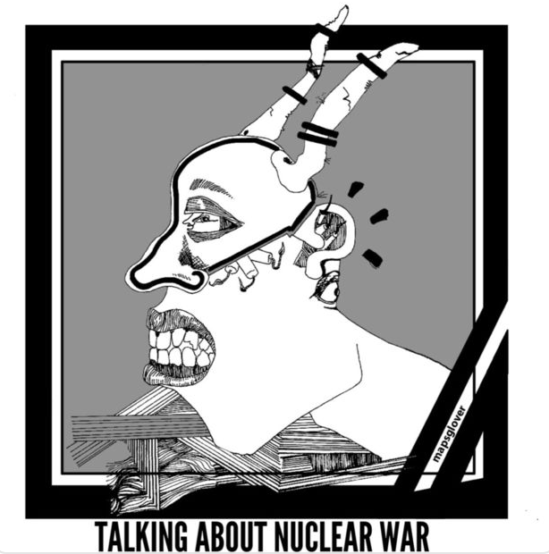 "Cover art for  singles  ""Anarchy"" and ""Talking About Nuclear War"" by Glover."