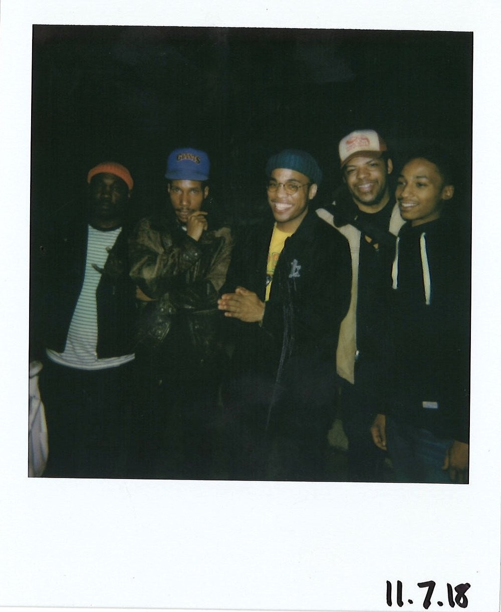 Nag Champa band members from left: L.D. Lee, Jamal Gray, Dajando Smith, and Allen Jones with Anderson .Paak (center), (Not pictured: Elijah Easton and Kwesi Lee). Photograph by Maxwell Young