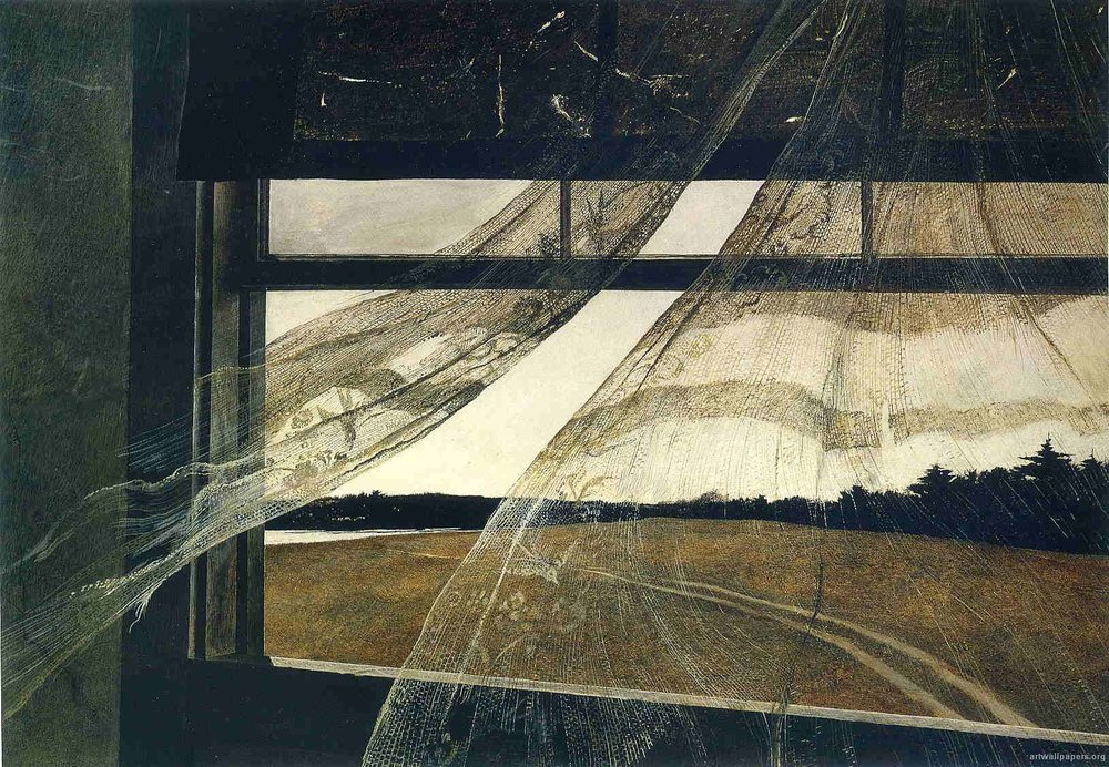 Andrew Wyeth,  Wind From The Sea , 1947, tempera on hardboard, 47 x 70 cm, National Gallery of Washington DC